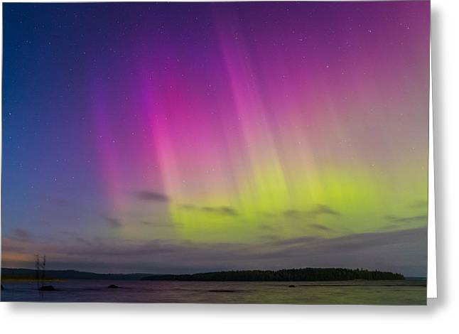 Auroras Over A Lake Greeting Card by Janne Mankinen