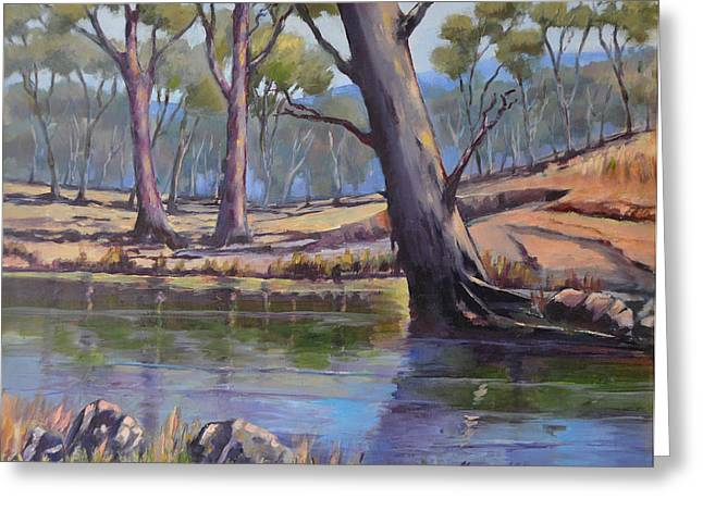 Greeting Card featuring the painting Aussie Billabong by Murray McLeod