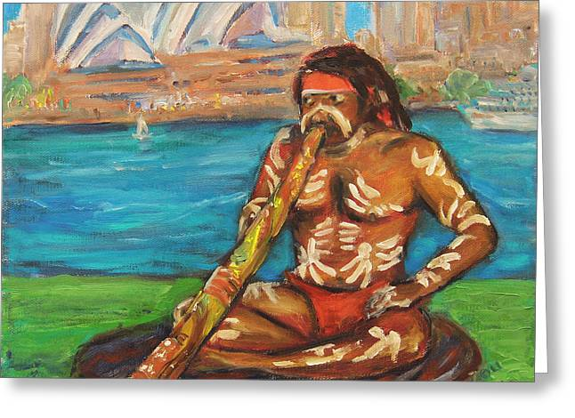Greeting Card featuring the painting Aussie Dream I by Xueling Zou