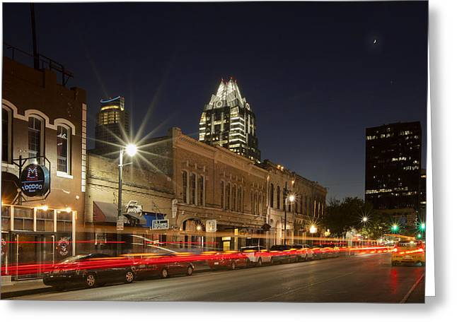 Austin Images - Sixth Street And The Austin Skyline 2 Greeting Card by Rob Greebon