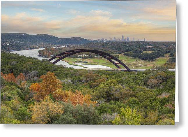 Austin Images - Pennybacker Bridge And The Austin Skyline Showin Greeting Card