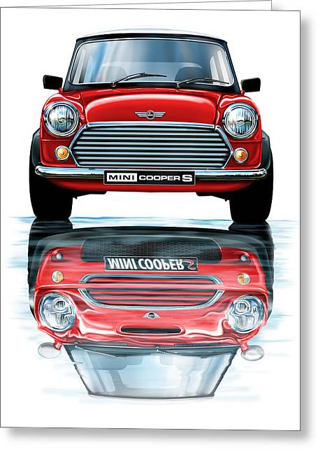 Austin Mini Cooper With New Bmw Mini Cooper Reflected Greeting Card by David Kyte