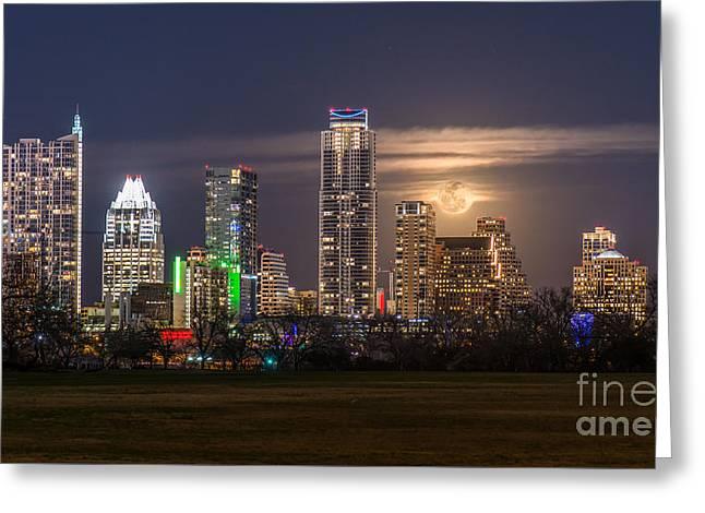 Austin Skyline Moonrise Greeting Card