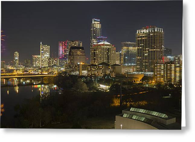 Fireworks And The Austin Skyline On New Year's Eve Greeting Card by Rob Greebon