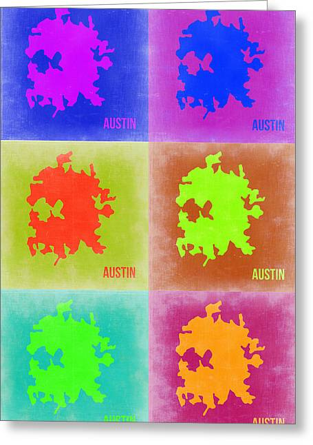 Austin Pop Art Map 4 Greeting Card by Naxart Studio