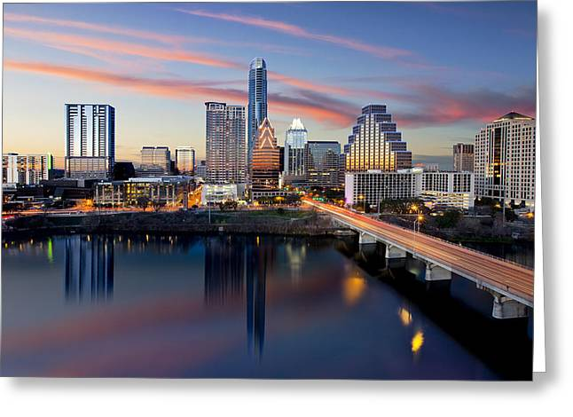 An Image Of The Austin Skyline And Lady Bird Lake From The Hyatt Hotel Greeting Card by Rob Greebon