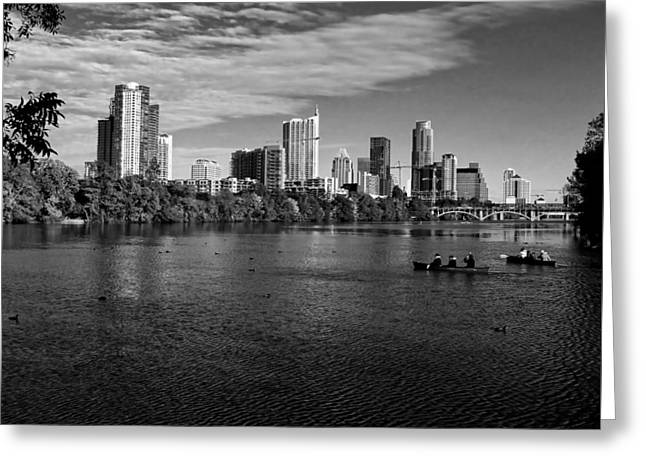Austin Skyline Bw Greeting Card