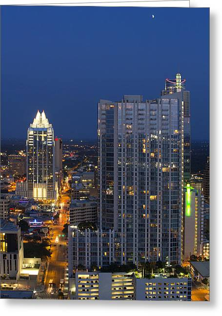 Austin Skyline Images - Frost Tower And The 360 Condos Greeting Card by Rob Greebon