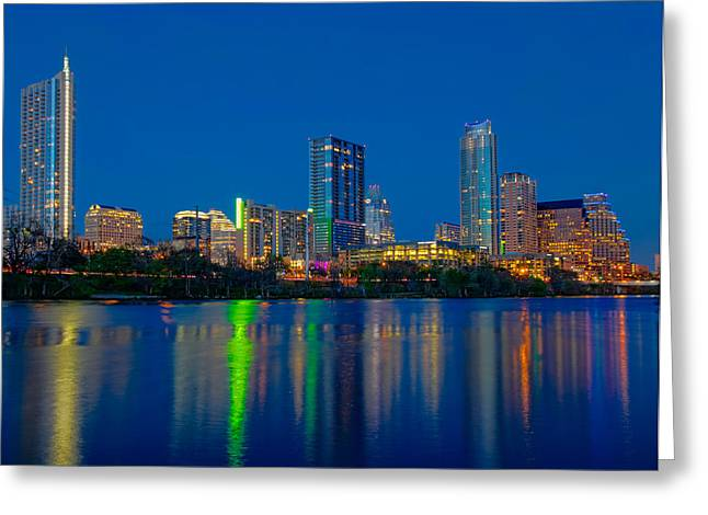 Greeting Card featuring the photograph Austin Skyline by Tim Stanley