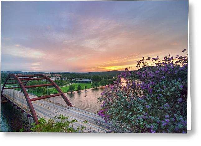 Austin Sunset Over Pennybacker Bridge Hdr Greeting Card by Preston Broadfoot