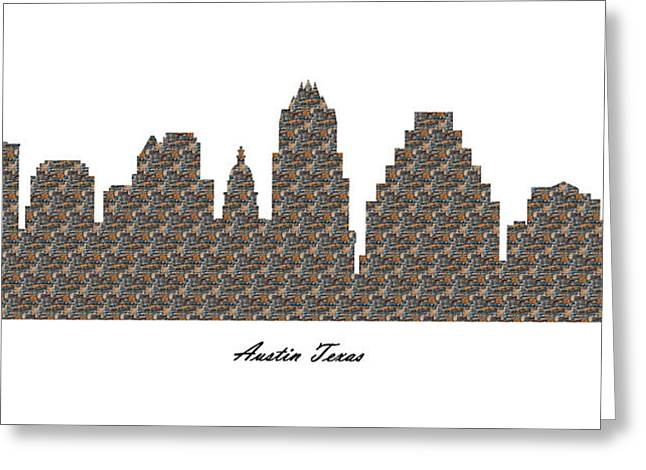 Austin Texas 3d Stone Wall Skyline Greeting Card