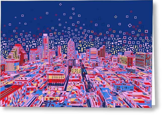 Austin Texas Abstract Panorama Greeting Card