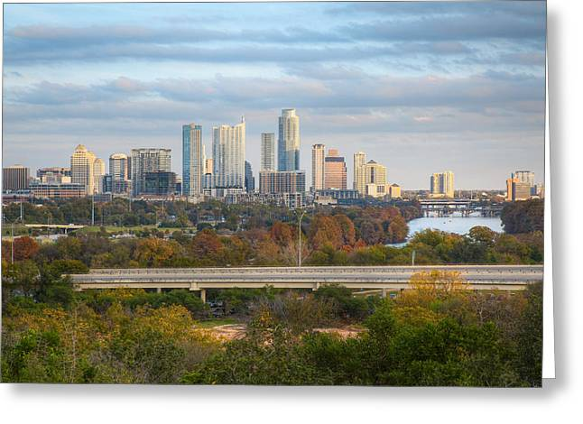 Autumn In Austin - A Skyline Image From The Zilker Clubhouse Greeting Card