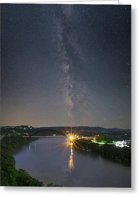 The 360 Bridge And Austin Skyline Under The Milky Way Greeting Card