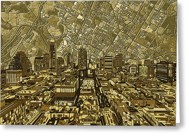 Austin Texas Vintage Panorama Greeting Card