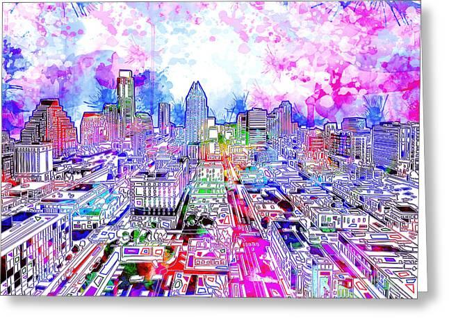 Austin Texas Watercolor Panorama Greeting Card