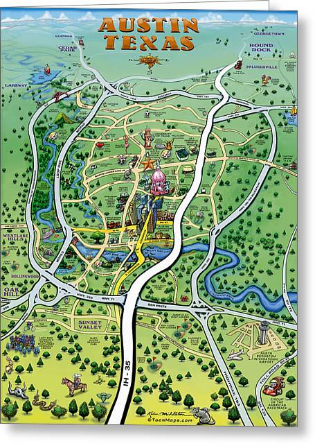 Austin Tx Cartoon Map Greeting Card