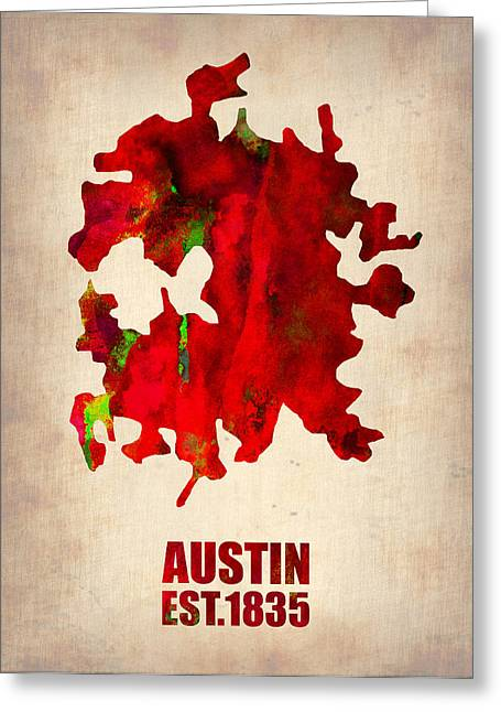 Austin Watercolor Map Greeting Card by Naxart Studio