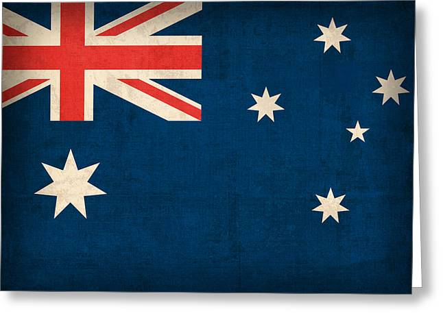Australia Flag Vintage Distressed Finish Greeting Card by Design Turnpike