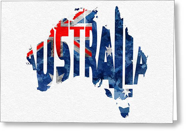 Australia Typographic World Map Greeting Card