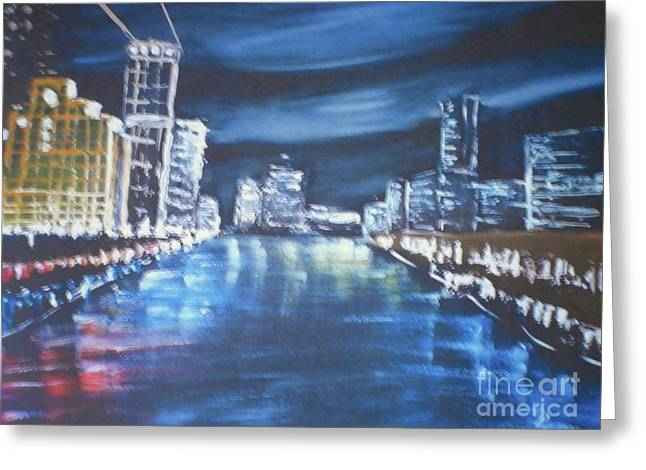 Greeting Card featuring the painting Australia - Yarra River Melbourne At Night by Pamela  Meredith