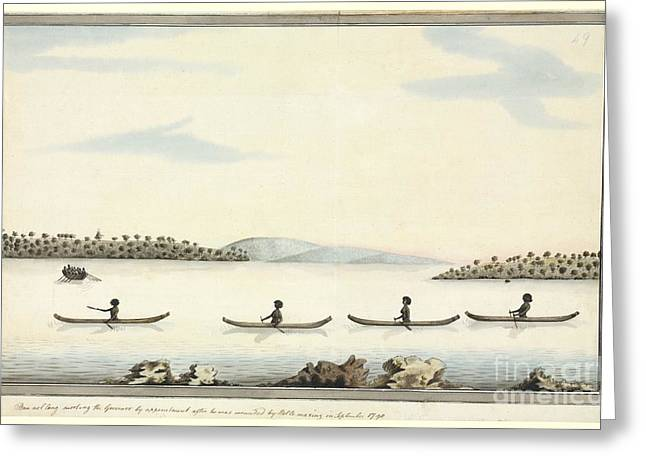 Australian Aborigines In Canoes, Artwork Greeting Card
