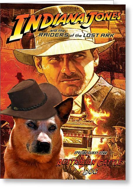 Australian Cattle Dog Art Canvas Print - Indiana Jones Movie Poster Greeting Card by Sandra Sij