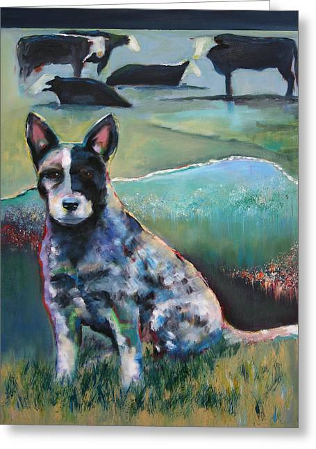 Australian Cattle Dog With Coat Of Many Colors Greeting Card