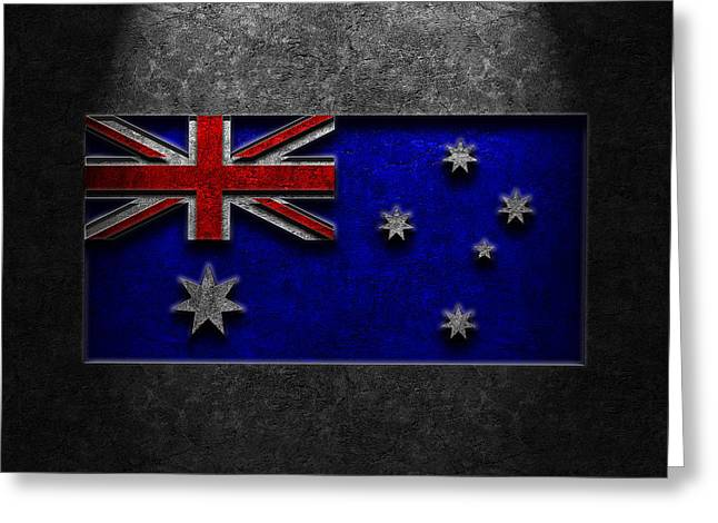 Greeting Card featuring the digital art Australian Flag Stone Texture by Brian Carson