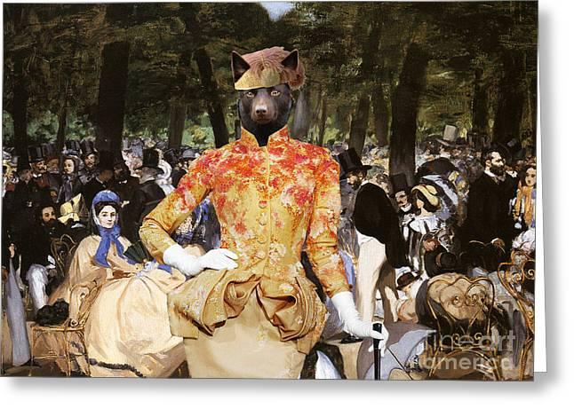 Australian Kelpie Canvas Print - Music With Tuileries Greeting Card by Sandra Sij