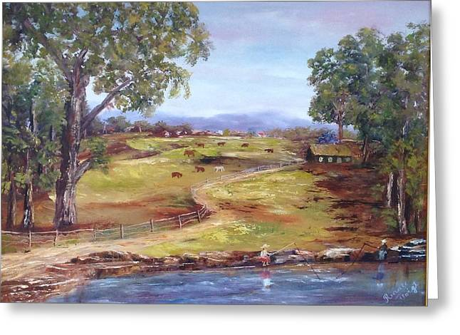 Greeting Card featuring the painting Australian Landscape Children Fishing by Renate Voigt