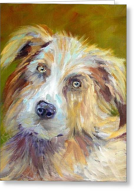 Greeting Card featuring the painting Australian Shepherd by Carol Berning