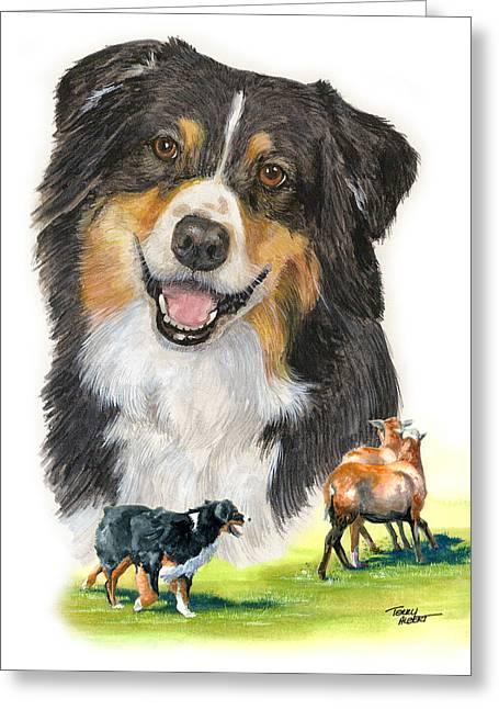 Australian Shepherd Herding Greeting Card