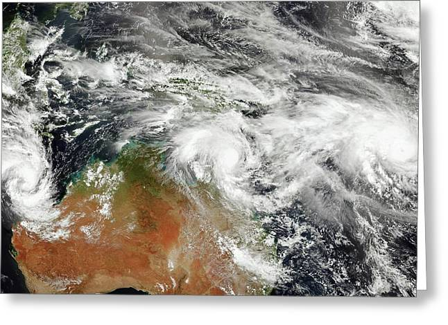 Australian Tropical Cyclones Greeting Card by Jesse Allen/suomi Npp/nasa