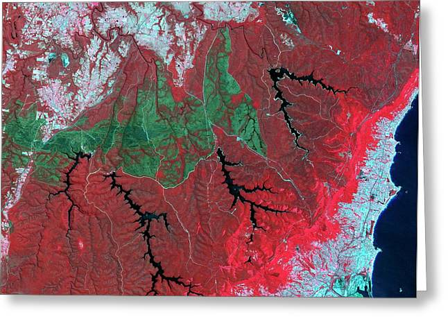 Australian Wildfire Scar Greeting Card by Nasa/gsfc/meti/ersdac/jaros/us-japan Aster Science Team