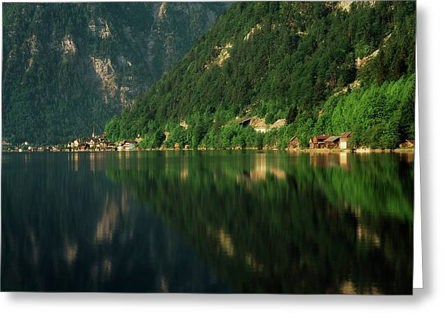 Austria, Salzkammergut, Hallstatt, View Greeting Card by Walter Bibikow