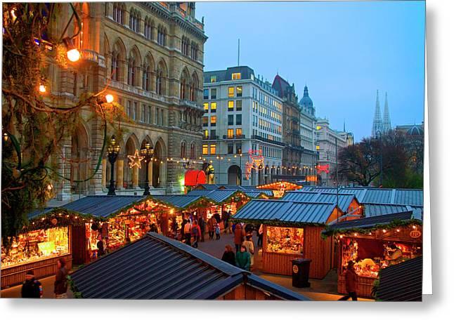 Austria, Vienna, Christmas Market Greeting Card by Miva Stock