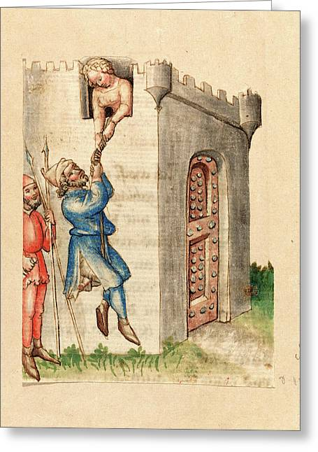 Austrian 15th Century, Woman Suspending Man From Tower Greeting Card by Litz Collection