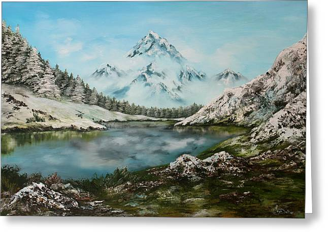 Greeting Card featuring the painting Austrian Lake by Jean Walker