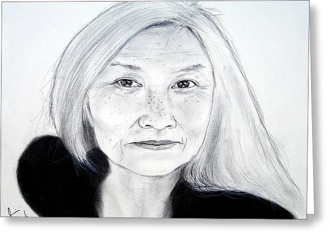 Author And Activist Maxine Hong Kingston Greeting Card by Jim Fitzpatrick