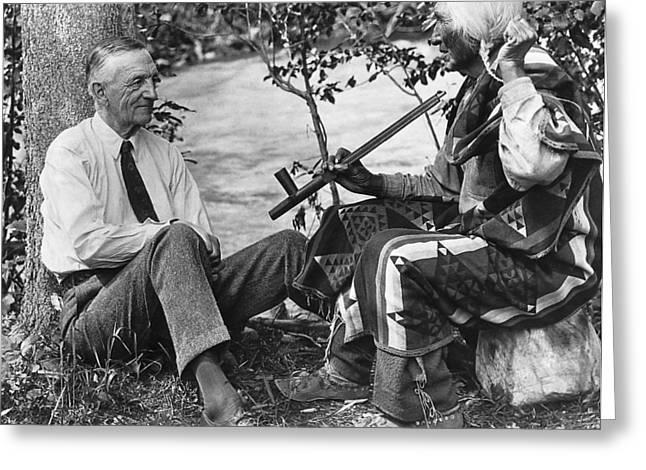 Author James Willard Schultz Greeting Card by Underwood Archives