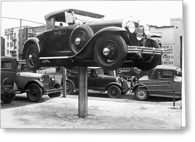 Auto Repair Shop Lift Greeting Card by Underwood Archives