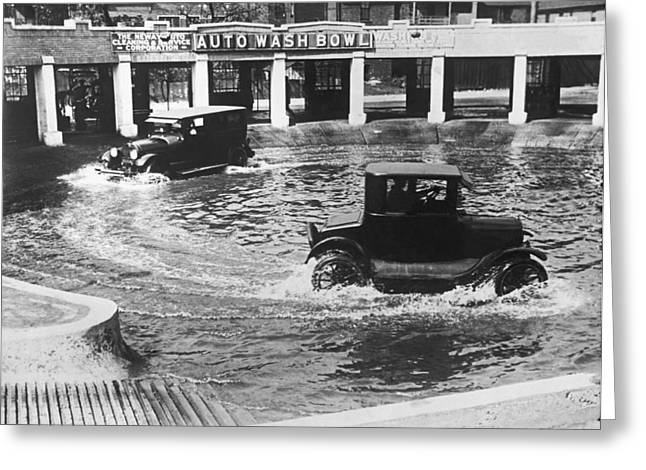 Auto Wash Bowl Greeting Card by Underwood Archives