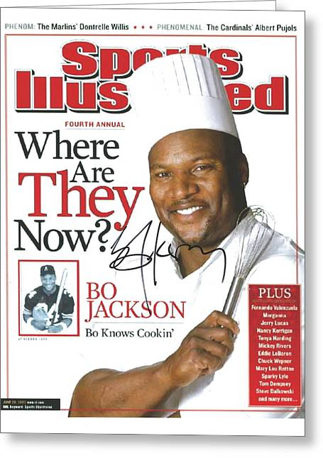 Autographed Sports Illustrated Cover By Bo Jackson Bo Knows Cookin' Greeting Card