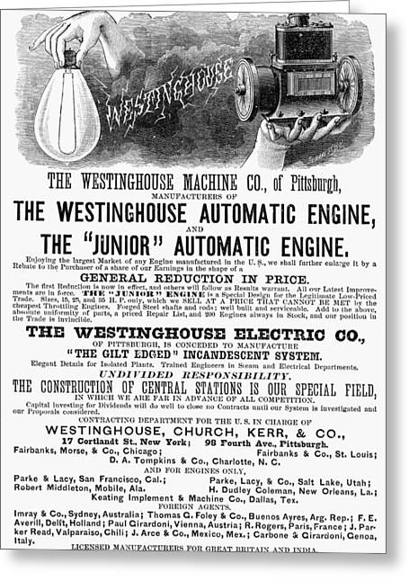Automatic Engine, 1886 Greeting Card by Granger