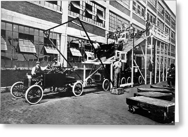 Automobile Assembly Line Greeting Card by Underwood Archives