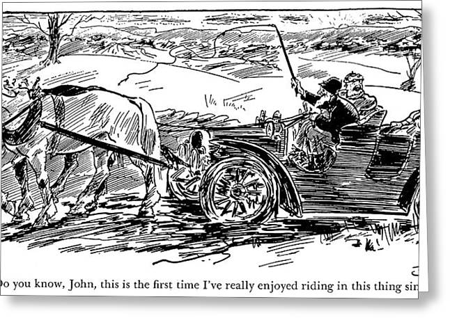 Automobile Cartoon, 1909 Greeting Card by Granger