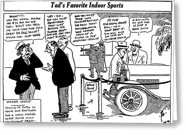 Automobile Cartoon, 1922 Greeting Card by Granger