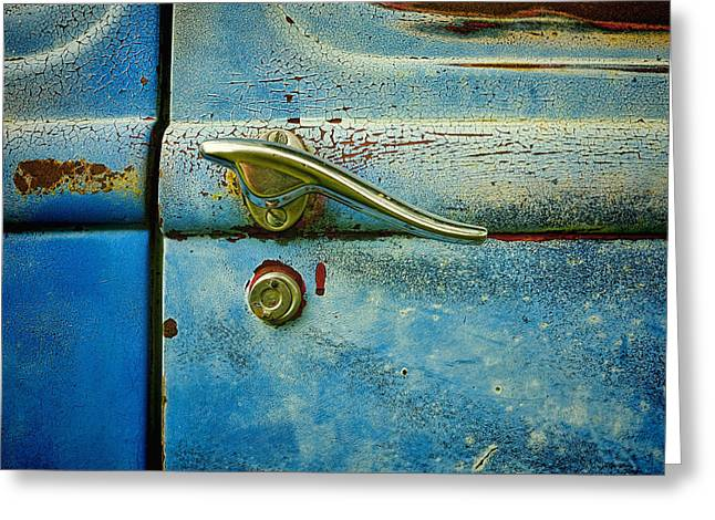 automobiles- cars - Blue and Rust  Greeting Card by Ann Powell