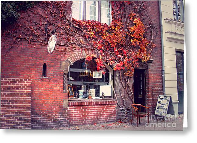 Greeting Card featuring the photograph Autumal Facade With Ivy Autumn by Art Photography